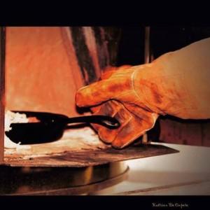 splitlederen handschoen lange mouw